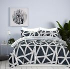 100% Cotton Reversible Queen King Bed Quilt Cover Set Soft Duvet Cover Geometry