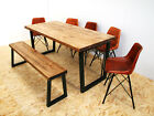 Wide plank industrial dining table rustic brown - u frame