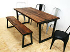 Wide plank industrial dining table dark brown - u frame