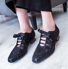 Womens Brogue Lace Floral Retro Lace Up Wing Tip Oxford Block Shoes Pumps Hollow