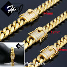 """7.5""""-11""""MEN Stainless Steel 10/12/14mm Gold ICED Miami Cuban Curb Chain Bracelet"""
