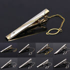 Handmade Gold Silver Men's Metal Neck Tie Bar Shirt Clasp with Chain Trendy