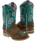 kids cow girl boots - Girls Kids Floral Embroidery Casual Leather Cowgirl Boots Teal Brown Square