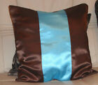 BROWN AND TURQOISE SATIN CUSHION COVER