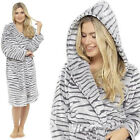 Grey Animal Print Womens Thick Fleece Hooded Dressing Gown Xmas Gift Size 16-18