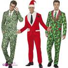 Mens Father Christmas Santa Cool Brussel Sprout Holly Berry Fancy Dress Suit Tie