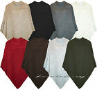 LADIES NEW CABLE KNIT PLUS SIZE PONCHO WARM CAPE WRAP POLO NECK JUMPER SWEATER.