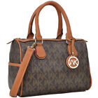New Womens Handbags Faux Leather Tote Bags 2 in 1 Monogram Medium Vintage Purse