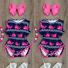 Floral Newborn Baby Boy Girl Shark Romper Bodysuit Jumpsuit Outfits Clothes USA