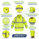 Safety Rain Jacket Reflective Green Hi-Vis Raincoat Rainjacket w Hood JORESTECH