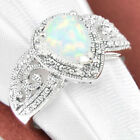 Lady 925 Silver Filled Pear Cut White Fire Opal Rings Engagement Wedding Gift