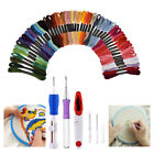 4 Sized Embroidery Stitching Punch Needle Tool Set + 50 Mix Colors Sewing Thread