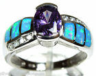 Amethyst & Blue Fire Opal Inlay 925 Sterling Silver Solitaire Ring size 6,7,8,9