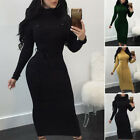 New Women Long Sleeve Bodycon Belt Knitted Evening Party Clubwear Cocktail Dress