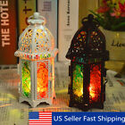 Moroccan Hollow Iron Glass Lantern Tea Light Candle Holder Wedding Home Decor