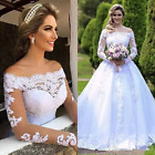 White Ivory Off The Shoulder Sheer Long Sleeves Wedding Dress Bridal Gown 2018