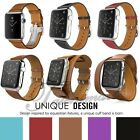 Genuine Leather Wrist Bracelet Clasp Strap For Apple Watch Band 38mm 42mm