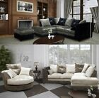 Crystal Sofa LH RH Corner Sofa Crushed Velvet Black Silver OR Brown Mink Oyster
