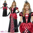 Royal Red Queen Of Hearts Costume Ladies Fairytale Book Week Fancy Dress UK 8-26