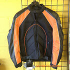 MENS BLACK & ORANGE LEATHER MESH MOTORCYCLE JACKET, MOTORCYCLE JACKETS