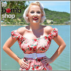 50s Style PALE PINK w/RED ROSE Floral PINUP Peasant Top On/Off Shoulder Dress