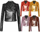 New Ladies Women Vintage Crop Biker Style Side Zip PU Leather Collar Jacket Top