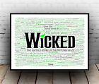 Wicked Broadway Musical Poster, Quotes, Lyrics, Wall Art, Poster, All Sizes
