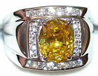 Men's 7.2ctw Citrine & White Topaz Sterling Silver 925 Ring   005920