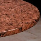 Vinyl Fitted Table Cover BURLWOOD Elasticized Square SM MED LG Round Oval Oblong