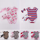 Infant Baby Girls Striped Floral Romper Bodysuit + Headband + Shoes 3Ps Outfits
