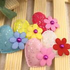 30/60/300PCS 32mm Padded Felt Sweet Heart Flower Appliques Craft Mix A321