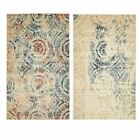 Contemporary Large Faded Design Rug Small Vintage Style Carpet Round
