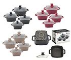 4pc Non Stick Marble Coated Stockpot Casserole Cooking Pot SQUARE Cookware Set