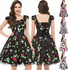 Ladies Stunning Cap Sleeve Retro Vintage Party Picnic Homecoming Women Dress qc~