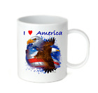 Coffee Cup Travel Mug 11 15 Oz Patriotic USA I Love America Heart Eagle