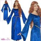 Ladies Medieval Maid Costume Adult Robin Hood Marion Womens Blue Fancy Dress