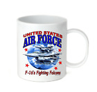 Coffee Cup Travel Mug 11 15 Oz Military US AIR FORCE F-16 fighting falcons