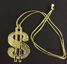 GOLD DOLLAR SIGN 70S NECKLACE GANGSTER PIMP FANCY DRESS BIG DADDY STAG DO BLING