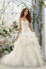 New White/Ivory Organza Bridal Gown Wedding Dress Stock Size:6/8/10/12/14/16/18