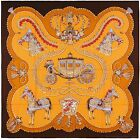 NEW Authentic Hermes Cashmere Silk Shawl PAPEROLES Brown GM 140