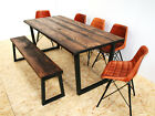 Industrial kiln dried board dining table U frame - dark brown