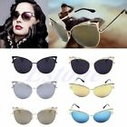 Womens Cat Eye Sunglasses Fashion Mirror Retro Large Oversize Metal Frame UV400