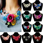 US Women Crystal Flower Neck Chain Chunky Necklace Collar Statement Bib Chain