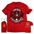 49 Hells Angels Andorra Spain Red T-Shirt model 5 Front + Backside + sleeve