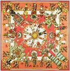 NEW Authentic Hermes Silk Summer Twill KACHINAS Kermit Oliver Red Coral 140
