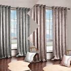 Stylish Crushed New Faux Velvet Mink Silver Eyelet Ring Top Curtains Fully Lined