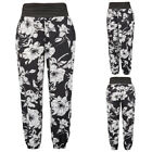 Newly Women Casual Loose Soft Flower Pattern Rayon Harem Pants Trousers Sport