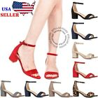 New Women's Fashion Ankle Strap Chunky Heels Sandals Shoes