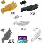 Lego 2 BIRD WINGS w/ Clips FEATHERS ANGEL PEGASUS Black Pearl Gold Bluish Gray