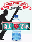 Cricket Ball Sports team PERSONALISED WATER BOTTLE LABEL EASY PEEL & STICK
